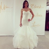 Wholesale Strapless Open Back Wedding Gown - 2015 Hayley Paige Mermaid Wedding Dresses Sweetheart Neckline Open Back Floor Length Organza Cascading Ruffles Bridal Gowns