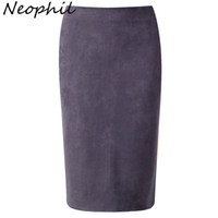 Wholesale Ladies Gray Pencil Skirts - Wholesale- Neophil 2017 Winter Gray Pink Women Suede Midi Pencil Skirts Causal High Waist Sexy Stretch Ladies Office Work Wear Saia S1009