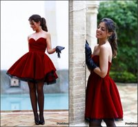 Wholesale High End Dresses Cheap - 2016 Cranberry Short Prom Dresses Velvet Sweetheart A Line Sexy Back Knee Length Cheap High End Celebrity Gowns Cocktail Dresses BA0593