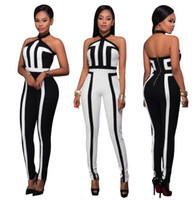 Wholesale 24 M Bodysuits - Stylish Women's Bodysuits Sexy Ladies Combinations Jumpsuits Date Halter Fashion Printed Jumpsuit casual women clothing Siamese Trousers