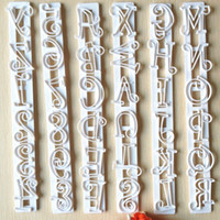 Venda por atacado - Hot 6pcs Letters Numbers Shape Cake Embossing Cutter Decorating Stencil Bakeware Tool