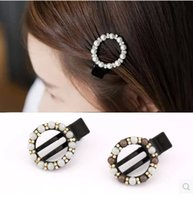 Wholesale Diamond Hair Gripper - Korea hairpin Korean temperament diamond pearl acrylic oval gripper clip duckbill clip bangs hair accessories women