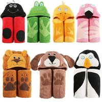 Wholesale Terry Bathrobes Free Shipping - Children Hooded Towel 100% Cotton 2 Sides Terry Thick Embroidered Animal Cartoon Hoody Hoodie For Kids Bathrobe Free Shipping