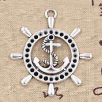 antiker silberner anhänger anker großhandel-30pcs Charme Ruder Anker 45 * 49mm Antik, Zink-Legierung Anhänger fit, Vintage tibetischen Silber, DIY für Armband Halskette