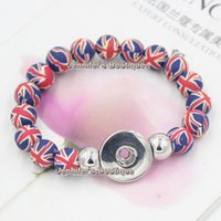 Wholesale Beaded Flags - New Arrival Free Shipping DIY Snaps Jewelry, 10mm Fimo Polymer Clay Ceramic UK Flag Beaded Stretch Snap Buttons Snaps Jewelry