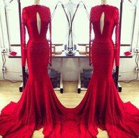 Wholesale Cheap Pageant Dresses Chiffon Style - Slot Red Lace Long Sleeve Evening Dresses 2017 Real Photos Mermaid Style High Neck Sweep Train Cheap Pageant Long Prom Dress Runway Gown