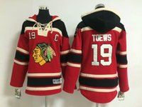 Wholesale Cheap Kids Sweater - Blackhawks #19 Jonathan Toews Black Youth Hockey Hoodies High Quality Cheap Kids Hockey Sweaters Warm Winter Outdoor Sportswear for Childs