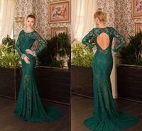 Wholesale Chiffon Celebrity Open Back - New Long Sleeve Green Lace Mermaid Evening Dresses With Open Back Court Floor Length Vesitods De Festa 2015 Prom Dresses Celebrity Dresses