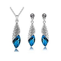 Wholesale Plated Deserts - Full Rhinestone Leaf Necklace Earrings Sets Desert light Jewelry Sets For Women Best Gift Wedding Jewelry 4156