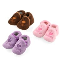 Wholesale Girls Fleece Slippers - Wholesale-Free Shipping Baby Girl Boy Unisex Coral Fleece Booties Shoes Slippers Newborn Toddler 0-12M New Hot