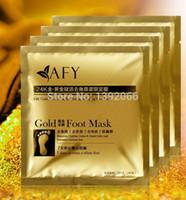удалять золото оптовых-Wholesale-AFY 24K GOLD Feet Mask skin Peeling Exfoliating Dead Skin Remove for Feet care free shipping 4pairs=8pcs