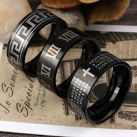Wholesale Scripture Supplies - FC Manufacturers supply stainless steel titanium jewelry trade retro ring plated black male Ms. Ring scripture figures KL