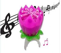 Wholesale Birthday Lotus Blossom - Romantic Blossom Lotus Flower Candle Birthday Party Cake Musical Candle Music Sparkle Waterproof Candle flame The best birthday present