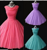 Wholesale Tulle Teal Dress - Top Selling Short Bridesmaid Dresses Cheap Under 50 Scoop Neck Coral   Teal   Purple Knee Length Junior Bridesmaids Dress For Wedding Party