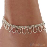 Wholesale Blue Rhinestone Ankle Bracelets - Wedding Jewelry Celeb Crystal Rhinestone Charm Drop Ankle Chain Bracelet Anklet 1NWI