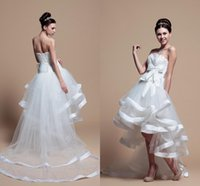 Wholesale Strapless Dr - Short Front And Long Back Wedding Dresses Sweetheart Sleeveless lace Up Back Design Organza Tulle High Low Bridal Gowns plus size wedding dr