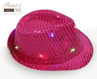 geführte cowboyhüte großhandel-Neueste! Mode Pailletten Jazz Hüte mit LED-Licht TOP Hüte für Männer, Frauen, Pailletten Leistung Cowboy Cap Requisiten für Weihnachtsfeier