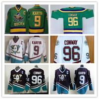 Wholesale Vintage Mighty Ducks Jersey - 100% Stitched Mighty Ducks Vintage #96 Charlie Conway Hockey Jersey CCM Movie Jersey Conway Green White Purple #9 Paul Kariya Jersey