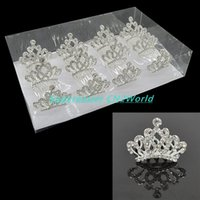 Wholesale Bridal Hairpin Red - 12pcs lot Diamond Princess Crown Comb Crystal Rhinestone Tiaras Crown Clip The Hair Accessories Hairpin For Bridal Girls&Kids