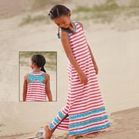 Wholesale Stripe Baby Girl Dress Bow - Baby girl Stripe bowknot dress 2015 new Fashion Lovely Girl's Sleeveless dress baby clothes B001