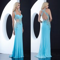 Wholesale Sexy Jasz Dresses - Backless Modest 2015 Prom Dresses With Halter Appliques Beads A Line Long Chiffon Custom Sky Blue Jasz Couture Evening Pageant Party Gowns