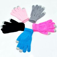 Wholesale Knit Glove Iphone - Winter Men Women Touch Screen Glove Texting Capacitive Smartphone Knit
