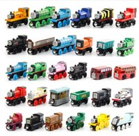 Wholesale Wholesale Wood Models - Wooden Toy Vehicles Wood Trains Model Toy Magnetic Train Great Kids Christmas Toys Gifts for Boys Girls b985