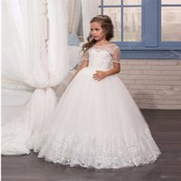 Wholesale Wholesale First Communion - 2018 Flower Girl Dresses for Wedding White Lace Tulle Kid Ball Gown Princess Birthday Party Gown First Communion Dress 168