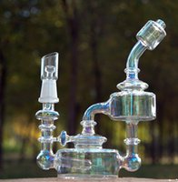 Wholesale Glass Bearings - Electroplating Bear Moutain Studios Honey Jar Recycler Oil rigs Glass water pipes with inline perc 14mm joint