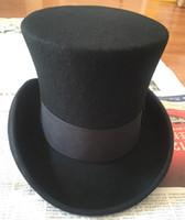 Wholesale cream gun - Wholesale-18.0cm(7.1inch) Wool High Top Hat  Uncle Sam Magician Stove Pipe Beaver Hat   Gun Rose Slash Sherlock Hat