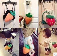 Wholesale Strawberry Backpacks - Carrot Strawberry Canvas Bag Strawberry kids bags Cartoon Children Backpack girls cute strawberry backpacks Cartoon plush bags D188 10pcs