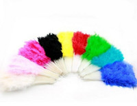 Wholesale Costume Feather Fans - Wholesale-1 x Beautiful feather fan for dance props Wedding Hand Fancy Dress Costume