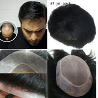 Wholesale Fine Human Hair - 100% Indian Virgin Human hair toupee durable Fine Mono with transparent PU Around Men toupee replacement natural hairline 6x8 7x9