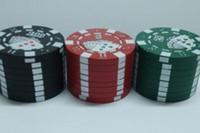 """Wholesale Poker Grinders Wholesale - 2016 super Zinc alloy Poker Chip Herb Grinder 1.75"""" 3pc Grinder 3 Colors 3-layer Poker Herb Smoke Cigarette Grinder"""