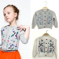 Wholesale Cardigan Sale Baby Girl - 5pcs lot 2015 Hot sale Autumn long sleeve cotton embroidered cardigan outwear shirt for baby girls in stock