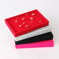 Wholesale High Quality Ring Tray - Wholesale 2 High Quality Velvet Ring Jewelry Display Tray 7 Rows