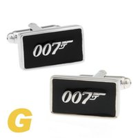 Wholesale Rare Cufflinks - High Quality New Classic Silver Copper Mens Wedding Cufflinks Novelty Rare Fancy James Bond 007& Clean Cloth 170181