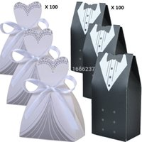 Wholesale recycle pc - Wholesale- 200 Pcs 100 Pairs Wedding Decoration Craft Tuxedo and Bridal Gift Boxes HD057