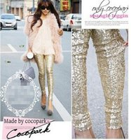 Wholesale Gold Sequin Trousers - new !Fashion Feminina Autumn Punk Bling Sequin Trousers,Shining Gold Black Silver Spangle Sequin Formal Pants Women leggings free shippin