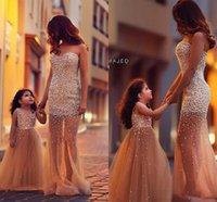 Wholesale Pearl Pink Flower Girl Dresses - 2016 Hot Sale Fashion Dresses Custom Made Flower Girl Dress Pearl Tulle Little Girl Dresses Princess Gown Mother And Daughter Dresses