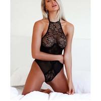 0ddba4c902 New Sexy Womens Lace Transparent Halter Bodysuit Leotard Lingerie Underwear  Jumpsuit 4 Size