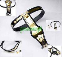 Wholesale Types Female Chastity Belts - Newest Female Fully Adjustable T-type Titanium steel chastity belt with Anal Vagina Plug chastity device J1112