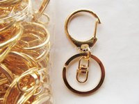 Wholesale Connector Ring Golden - 500pcs 30pcs Silver tone Golden Heavy Strong D Clasp Circle Clasp Key Chain Ring Connector Pendant Charm Finding