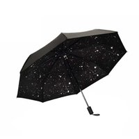 Starry Sky Black Coating Windproof Anti UV Sun / Rain Тройной складной зонт