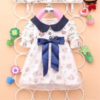 All'ingrosso- 2016 Spring New Fashion Baby Girls Cotton Dress Big Bow neonati Nizza abiti floreali
