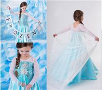 Wholesale Cloting Girl - 1PCS Summer New Style Girls Frozen Dress Elsa Anna Beautiful Dress Patchwork Fashion Princess Dress Children's Cloting 2T,3T,4T,5T,6T-12T