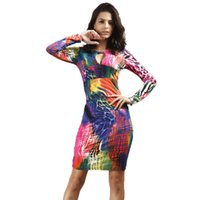 Новый Sexy Club Dress 2015 Fall Women Long Sleeve Floral Print V Ncek Open Front Keyhole Cleavage Mini Night Party Bodycon Dresses