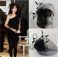 Wholesale party accessory for sale online - Hot Sale black Bird cage Net Wedding Bridal Fascinator Hats Face Veil Feather black Flower for party accessory