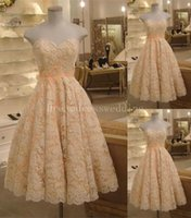 Wholesale Pink Sweetheart Tencel Dress - Hot Sale 2016 Fashionable Lace Wedding Dresses Sweetheart A-Line Knee Length Sleeveless Vintage Lace Bridal Gowns