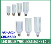 Wholesale E27 165 Led - LED corn lights 24 42 60 84 98 132 165 pcs SMD 5630 LED corn bulb 7W 12W 15W 25W 30W 40W 50W 110V~240V E14 E27 B22 base white warm white